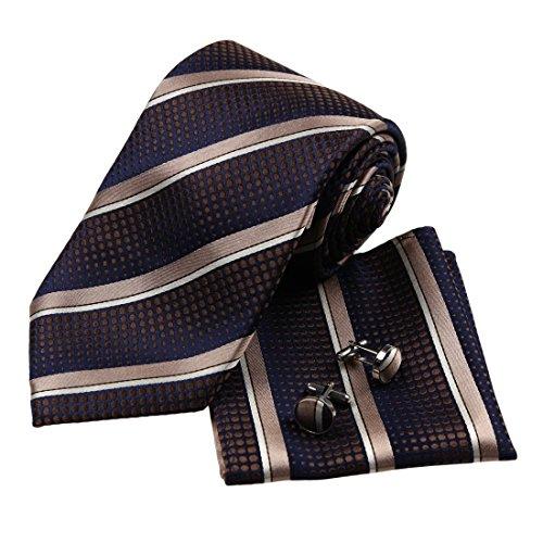 H6103 Marrone Stripes Regalo di inverno di seta cravatte gemelli fazzoletto padri Giorni regalo Set 3pt da Y&G