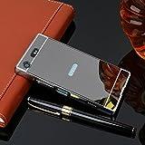 Js Cool Ultra Metal Aluminum Frame Bumper Acrylic Mirror Back Case Cover For Sony Xperia Xa2 Ultra - Black