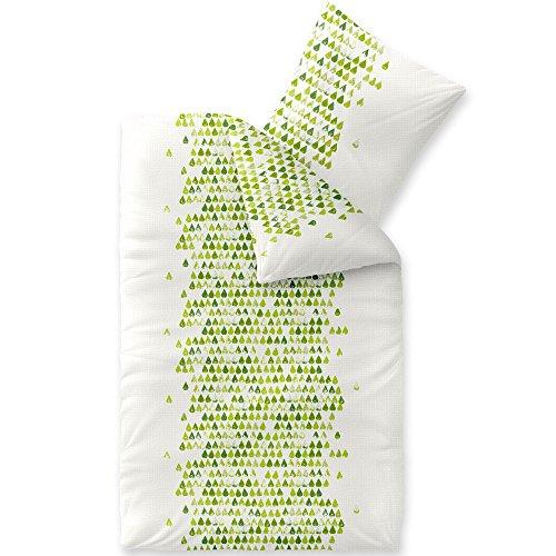 CelinaTex Enjoy Amelie, Bettwäsche 2tlg 155 x 220 cm, Sommer Baumwolle Bettbezug Seersucker weiß grün