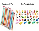 HONGCI School Fun Equipment DIY Toy Party Kit de llenado de bolsas para niños (con 20 piezas de lápices flexibles flexibles Bendy + 20 Pack Animal Erasers Fillers Borradores de lápiz)