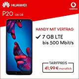 Vodafone Huawei P20 mit 128 GB internem Speicher, Smart L Plus inkl. 7GB Highspeed Volumen mit Max 500 Mbits, inkl. Telefonie- und SMS Flat, EU-Roaming, 24 Monate min. Laufzeit, mtl. 41, 99 Blau