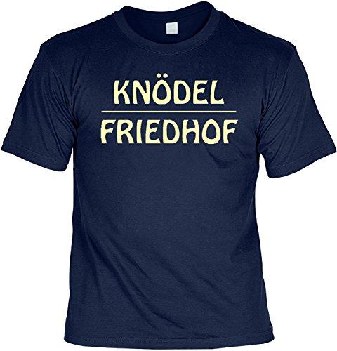 Fun T-Shirt Knödel Friedhof Shirt bedruckt Geschenk Set mit Mini Flaschenshirt Navyblau
