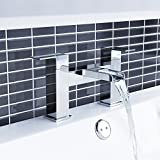 iBathUK | Modern Waterfall Monobloc Bath Filler Mixer Tap Chrome Bathroom Tub Faucet TB108
