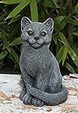 Steinfigur Katze sitzend in Schiefergrau, Figur Deko Garten