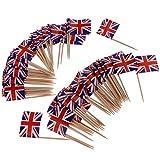 Baoblaze 100x Nationelle Flagge Sticks Stäbchen Zahnstocher Spieße Dekoration für Cocktail Obst Sandwich Cupcake usw. aus Papier und Holz - England