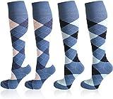 normani 4 Paar karierte Reit-Kniestrümpfe mit Frotteesohle - Reitsocken für Mädchen und Damen [Gr. 35-46] Farbe Farbset 3 Größe 39-42