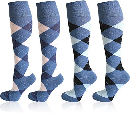 4 Paar normani® karierte Reit-Kniestrümpfe mit Frotteesohle - Reitsocken für Mädchen und Damen [Gr. 35-46] Farbe Farbset 3 Größe 35-38