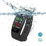 SAVFY Montre Connectée Homme/Femme IP68 Etanche Bracelet Connecté Sport Fitness Tracker d'Activité Bluetooth Cardio/Podometre/Calorie/Notification/Sommeil pour iPhone et Android - Noir