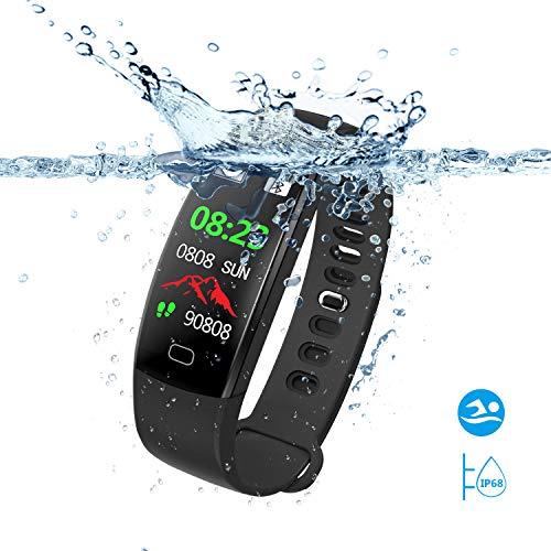 SAVFY Montre Connectée Homme/Femme IP68 Etanche Bracelet Connecté Sport Fitness Tracker d'Activité Bluetooth Cardio/Podometre/Calorie/Notification/Sommeil pour iPhone et Android – Noir