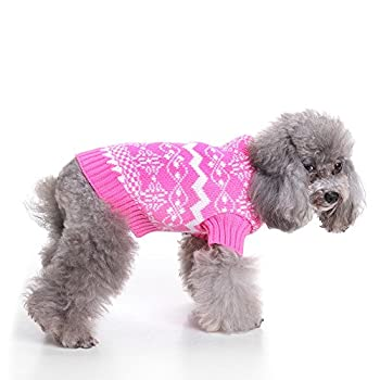 Weant Christmas Fashion Comfortable Pet Clothes Festival Dress Sweater Knitwear (M, Pink) 5