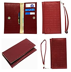 Jo Jo A5 D4 Leather Wallet Universal Pouch Cover Case For HTC Trophy Wine Red