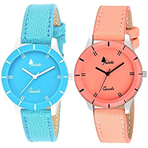 Frida Analogue Orange And Sky Blue Girls' Watches - Set of 2 Combo