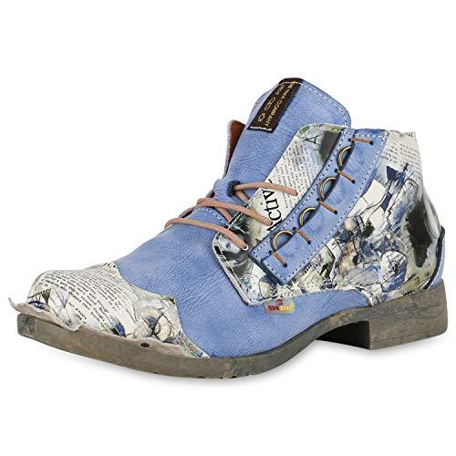 TMA Damen Schnürstiefeletten Leder Boots Vintage Stiefeletten 174903 Blau 39 Scarpe Vita - Vintage Rock Anzug