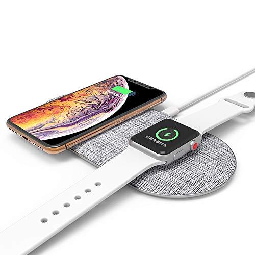 ZUKN 2In 1 Qi 10W Desktop Intelligentes, schnelles, kabelloses Ladegerät Dual Pad Multifunktions-Ladestation für Iwatch iPhone X 8 Samsung S9 Schnellladestation,White Schneller Desktop
