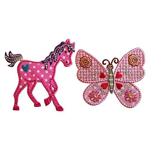 Pony 8X9Cm Pink Butterfly 7 Centimetri Alto Cavalluccio rosa, su fondo rosa a bollini con cuoricino azzurro ricamato, coda e criniera viola ricamate. Farfalla rosa in tessuto bicolore, rosa parte superiore e a quadri inferiore, con ricami floreali e cuori sulle ali, corpo beige e marrone ricamato.