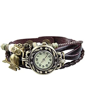 Boolavard® TM EULE Quarz-Art- und Weave Verpackung um Lederarmband Frauen Armbanduhr