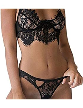 heekpek Mujer Sexy Conjunto de Lencería de Encaje Encaje Spice Suit Ropa Interior Elegante Bragas Sostén Tentación...