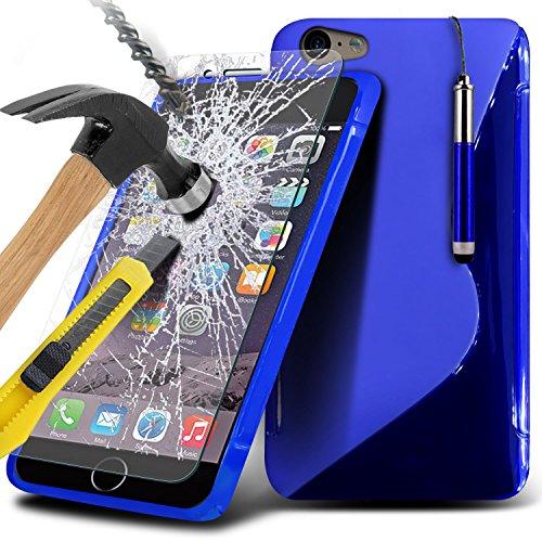 Spyrox ( Blue ) Apple iPhone 6S Case Stylish Fitted S linea cassa del gel dellonda copertura della pelle con protezioni dello schermo in vetro temperato Crystal Clear LCD, Panno e Mini