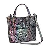 Rinhoo Geometrische Leucht Geldbörse Handtasche für Frauen Große Tasche Holographische Top-Griff Taschen