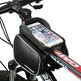 Fahrradtasche Rahmentaschen, MOREZONE Frarradschnalletasche mit zwei Fäche, geeignet für Handy mit Größe unten 6,0', Farhradlenkertasche (Black)