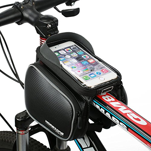 """Fahrradtasche Rahmentaschen, MOREZONE Frarradschnalletasche mit zwei Fäche, geeignet für Handy mit Größe unten 6,0"""", Farhradlenkertasche (Black)"""