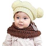 ZARU Bebé lindo de los niños de la muchacha del muchacho de doble Pompon bolas de calentamiento gorras de punto de Invierno (Beige)