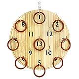 Pellor Kinder Erwachsene Holz Ringwurfspiel Wand Kreis Werfen Spielzeug Indoor-und Outdoor (Khaki) -