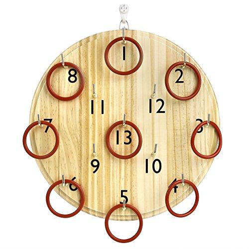 Pellor Kinder Erwachsene Holz Ringwurfspiel Wand Kreis Werfen Spielzeug Indoor-und Outdoor (Khaki)