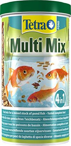 Tetra Pond Multi Mix (ausgewählte Futtermischung aus Flocken, Sticks, Wafern und Gammaruskrebsen für alle Gartenteichfische), 1 Liter Dose
