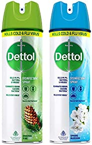 Dettol Multi-Purpose Disinfectant Spray For Hard & Soft Surfaces, Spring Blossom- 170 g & Original Pin