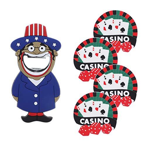 4 Untersetzer und Uncle Sam Bierflaschenöffner, 5 Stück One Size Uncle Sam-Casino