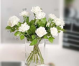 ECHTE TOUCH Künstliche Blumen–2-head Feuchtigkeit Rosen 6Schäften–Feuchtigkeit Fühlen wie echt.–Weiß, Grün, Orange