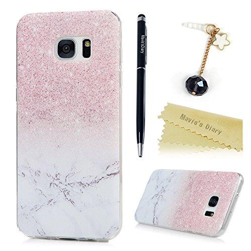 Mavis's Diary Schutzhülle für Samsung Galaxy S7 Edge Hüllen Rosa Marmor Muster TPU Softcase Fall Euit Back Cover Bumper Handytasche Scratch Telefon-Kasten Handyhülle Handycover (Rosa Samsung-telefon-fall)