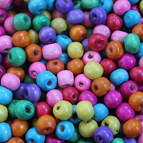 Lot de 540 perles rondes en bois multicolores de 8mm charms bijoux loisirs créatifs par Kurtzy TM