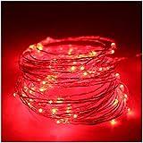 5M(16,4ft) 50 LED Cuivre fil de cuivre LED Guirlande lumineuse étanche étoiles Lumière Chaînes alimenté par batterie pour le Festival de Noël (Rouge)