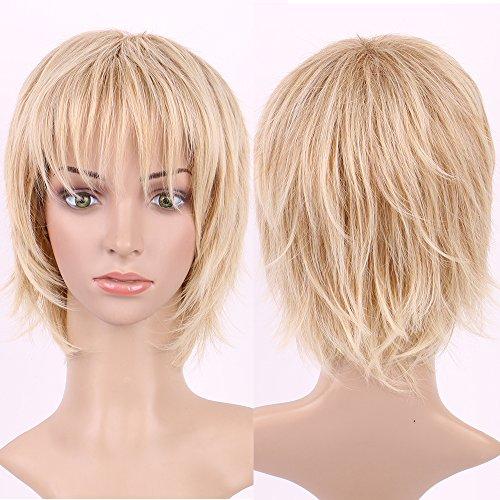 S-NOILITE Kanekalon Damen Kurz Perücke gerade Wellig Blonde Highlight Haar Full Perücken Tägliche Party