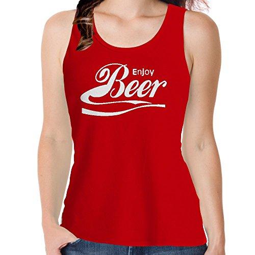 Snoogg Genießen Sie Bier Lässige Slogan / Baumwolle Frauen Mädchen Freizeit Westen Sleeveless Tank Tops Leibchen Beach Wear