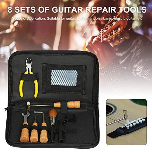 overlookTW Kit di Strumenti per la Riparazione della Chitarra - Installazione degli Accessori Luthier Riparazione di Manutenzione 8 Pezzi Accessori per Chitarra Well-Matched intensely