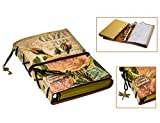 FX PU Leder nature Notizblock Buch Tagebuch Skizzenbuch Rindsleder Lederaccessoire Traditionell Fotobuch 7.3 x 5 Zoll (Black-fork)