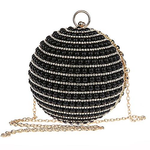 KAXIDY Forma Unica Pochette Donna Elegante Pochette da Sera Perline Incastonato Borsetta Da Sera Nero