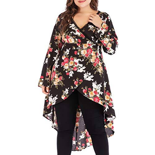 Plus Size Wikinger Krieger Kostüm - Vimoli Kleid Dame Plus Size Blumendruck