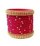 #7: Blue jays hub Silk thread bangle set of 14,multi color for women/girls (multi color, 2.11)