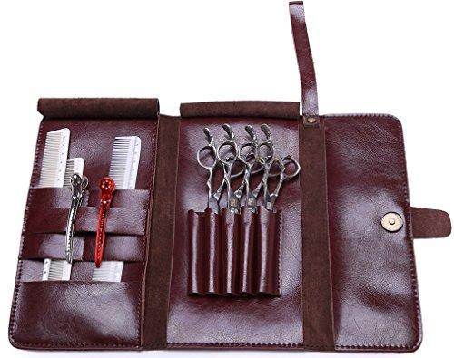 Pochette à ciseaux pour coiffeur, Sac étui à ciseaux pour salon de coiffure, Cuir véritable - Marron.