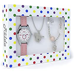 Pink Horse Watch and Girls Jewellery Set - Watch Gift Set for Kids with Silvertone Horse Necklace & Bracelet