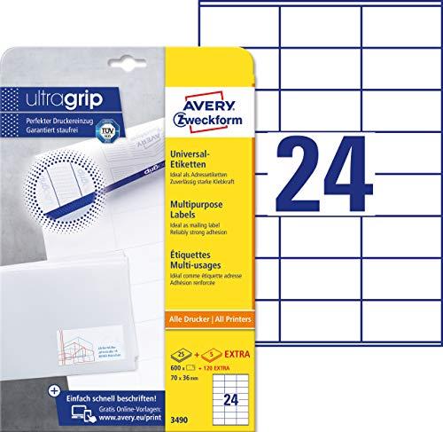 Avery Zweckform 3490 Adressaufkleber A4 (mit ultragrip, 70x36 mm, 30 Blatt, Papier matt, bedruckbare, selbstklebende Adressetiketten, 720 Klebeetiketten) weiß