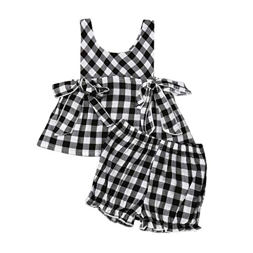 Allegorly 2tlg Outfit Neugeborene Kinder Babys Mädchen Plaiddruck Ärmellos Schnürung Bogen Tops t Shirt Oberteil +PP Laterne Shorts Hose Bekleidungssets 0-24 Monate