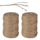 (200M)2 Bobines Ficelle Corde de Jute 3ply Brun pour Artisanat Floristique Cadeaux Arts et Artisanat Décoration Jardinage et Mariage Recyclage Scrapbooking