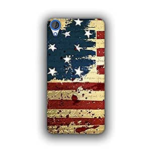 Caseque (Pro) USA Flag Back Cover for HTC Desire 820