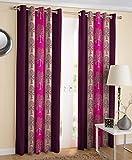 #1: Exporthub Purple Flowers Ringtop Eyelet Polyester Window Curtain - 5feet, EHSPR675