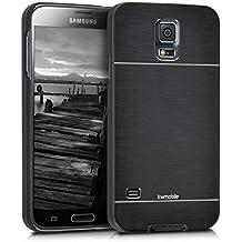 kwmobile Funda rígida de alta calidad para Samsung Galaxy S5 / S5 Neo / S5 LTE+ / S5 Duos con refuerzo de aluminio pulido en la parte trasera en negro